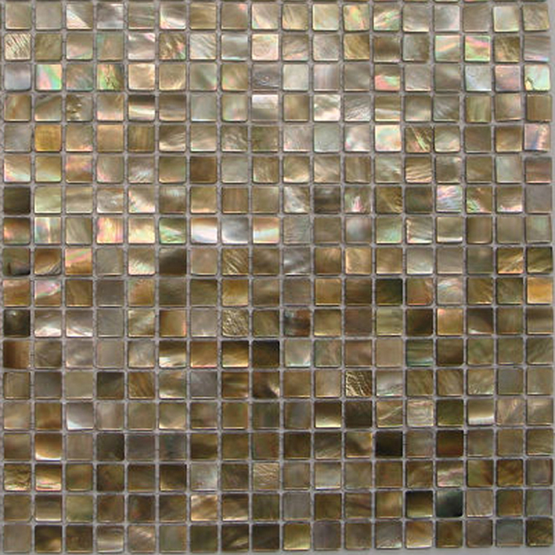 "Brown Mother of Pearl - Penguin Natural Shell Mosaic Sheet 15mm - 1/2"", 1 tile"